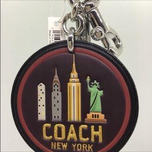 Coach Leather New York Skyline Bag Charm Key Ring